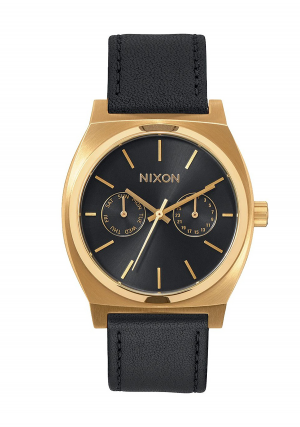 Nixon Time Teller Deluxe Leather Gold Black Sunray